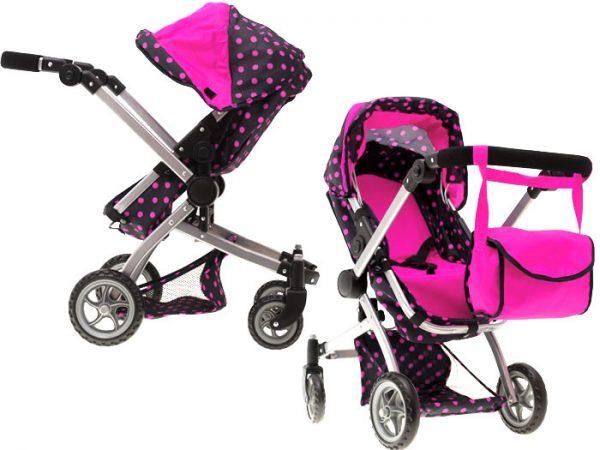 wózek, dla lalek, 4w1, groszki, gondola, spacerówka,