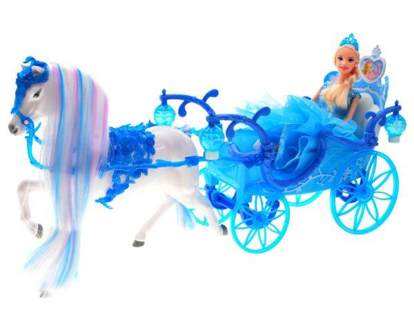 karoca, kopciuszek, koń, barbie, lalka, dorożka, błękitna