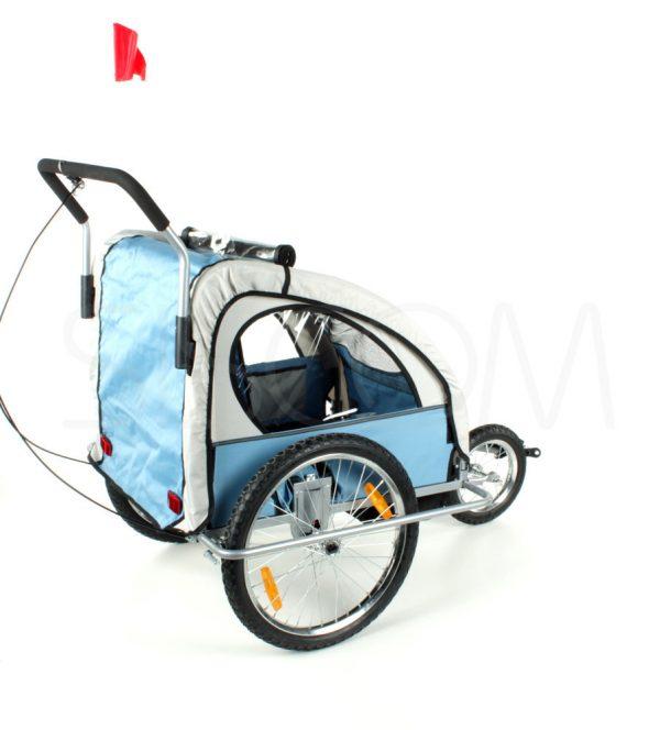 Przyczepka, duże koła, rowerowa, rower, jogger, biegowy, biegowa, wózek, spacerówka, do roweru, czerwona, niebieska, 2,