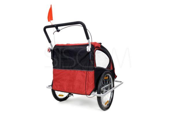 Przyczepka, duże koła, rowerowa, rower, jogger, biegowy, biegowa, wózek, spacerówka, do roweru, czerwona, niebieska, 4