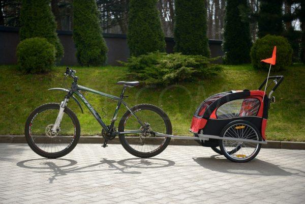 Przyczepka, rowerowa, rower, jogger, biegowy, biegowa, wózek, spacerówka, do roweru, czerwona, niebieska