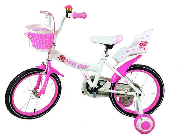 rowerek, dla dziewczynki, 16, biało-różowy, z koszyczkiem