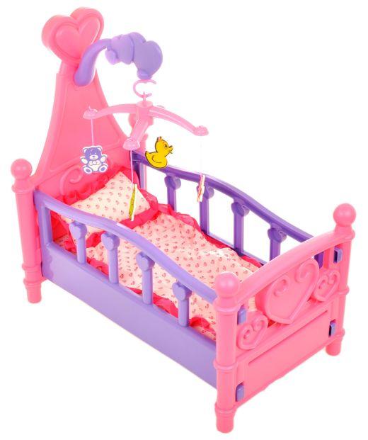 łóżeczko dla lalek, z kauzelą, rożowe