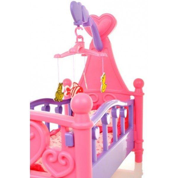 łóżeczko dla lalek, z kauzelą, rożowe,