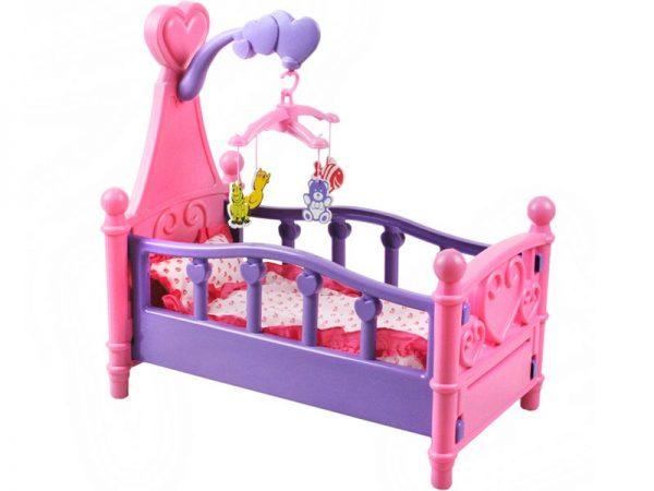 łóżeczko dla lalek, z kauzelą, rożowe, lalka