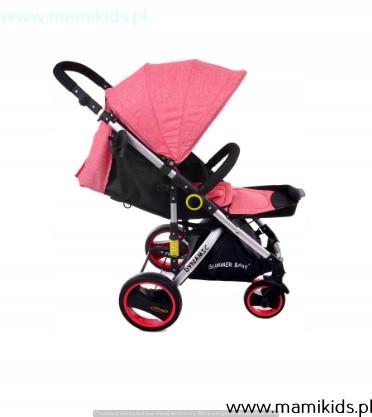wózek, spacerówka, summer baby, dynamic, różowy, rozkładany