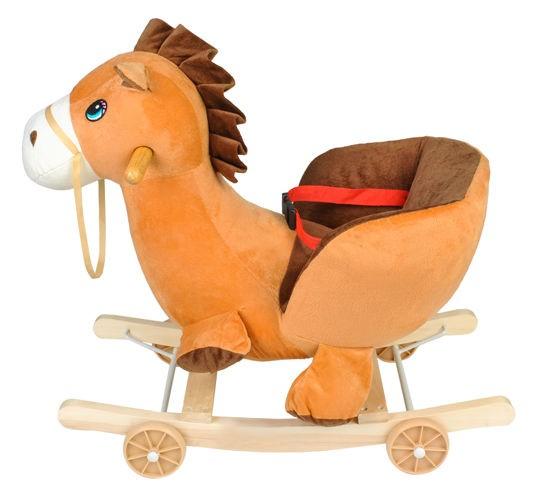 konik, bujak, na biegunach, koń, brązowy, na kółkach