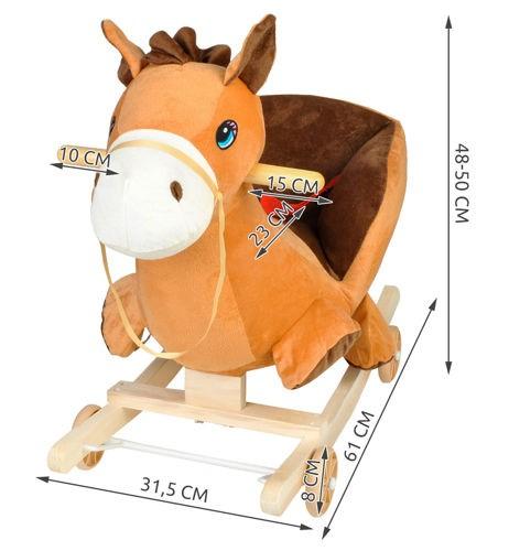 konik, bujak, na biegunach, koń, brązowy, wymiary