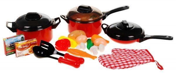 naczynia, garnki, do kuchni, zabawka, zestaw, dla dziecka, ściereczka