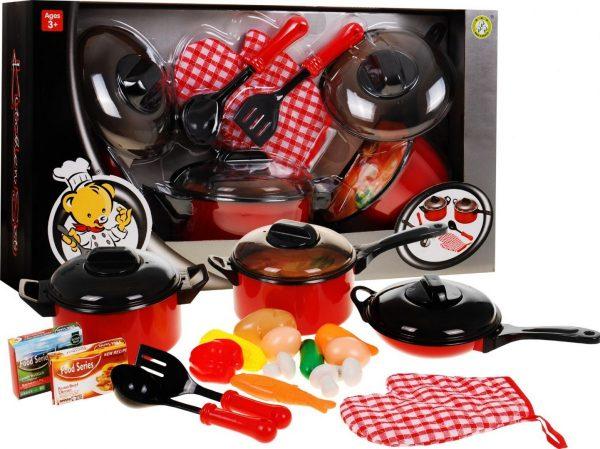 naczynia, garnki, do kuchni, zabawka, zestaw, dla dziecka