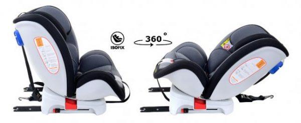 fotelik, samochodowy, do samochodu, summer baby, fioletowy fotelik, rwf, obrotowy, 0-36 kg, szary