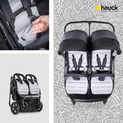 hauck-wozek-blizniaczy-rapid-3r-duo-silver-charcoal, podwójny,