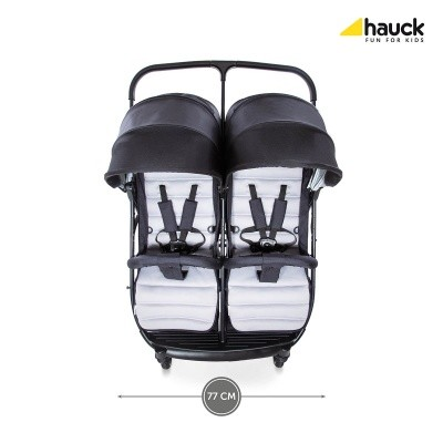 hauck-wozek-blizniaczy-rapid-3r-duo-silver-charcoal, szaro-czarny