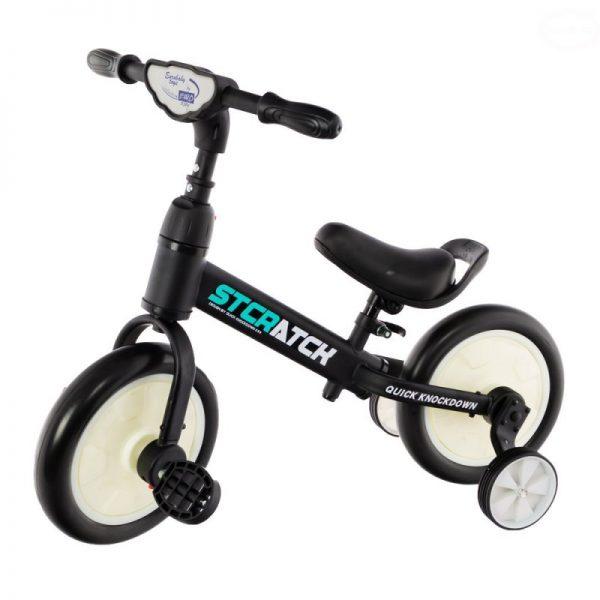 rowerek, dla dziecka, 12 cali, biegowy, na pedały, kółka boczne, biało-czarny