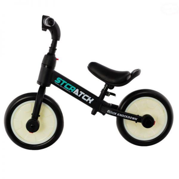 rowerek, dla dziecka, 12 cali, biegowy, na pedały, kółka boczne, biało-czarny,