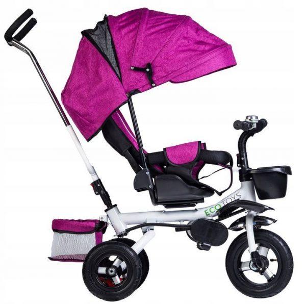 rowerek, trójkołowy, dla dziecka, rower, fioletowy, koła, daszek, obrotowy,