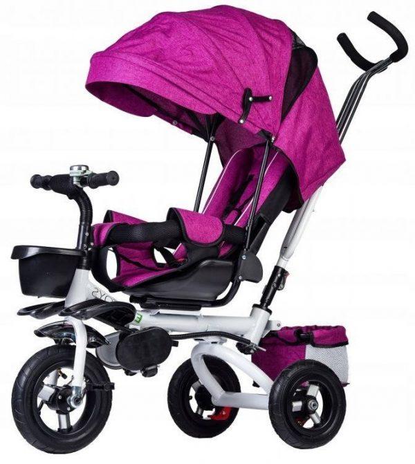 rowerek, trójkołowy, dla dziecka, rower, fioletowy, koła, daszek, obrotowy, wymiary