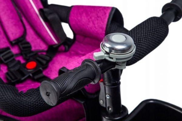 rowerek, trójkołowy, dla dziecka, rower, fioletowy, koła, daszek, obrotowy, wymiary, 360 stopni