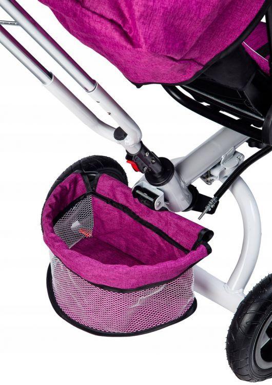 rowerek, trójkołowy, dla dziecka, rower, fioletowy, koła, daszek, obrotowy, wymiary, 360 stopni,