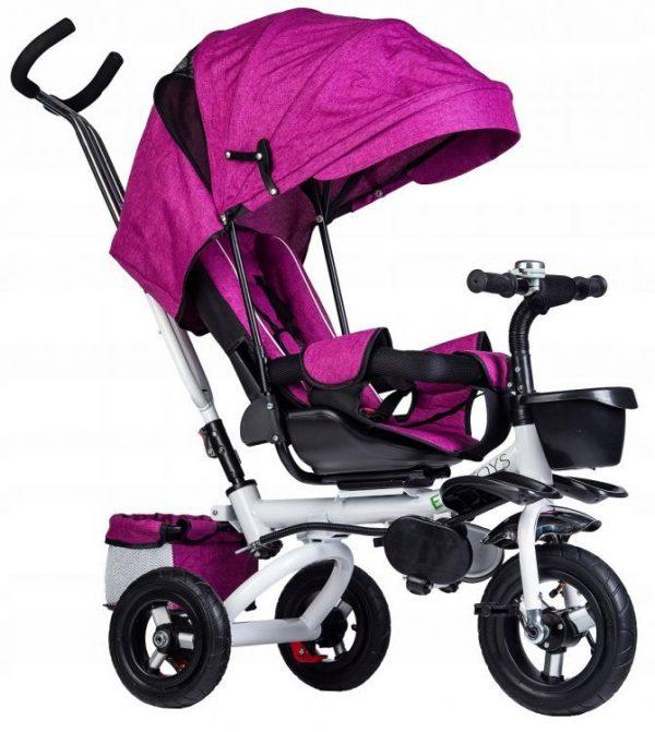 rowerek, trójkołowy, dla dziecka, rower, fioletowy, koła, daszek, obrotowy, wymiary,