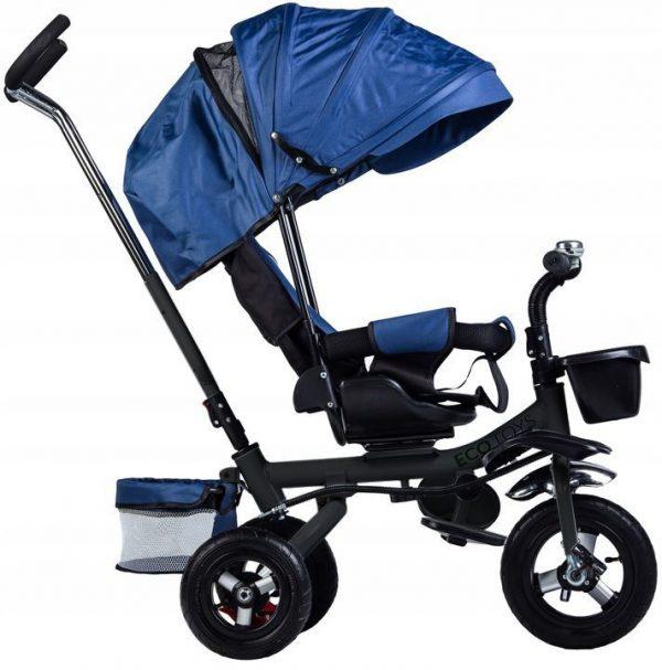 rowerek, trójkołowy, dla dziecka, rower, niebieski, koła, daszek, obrotowy