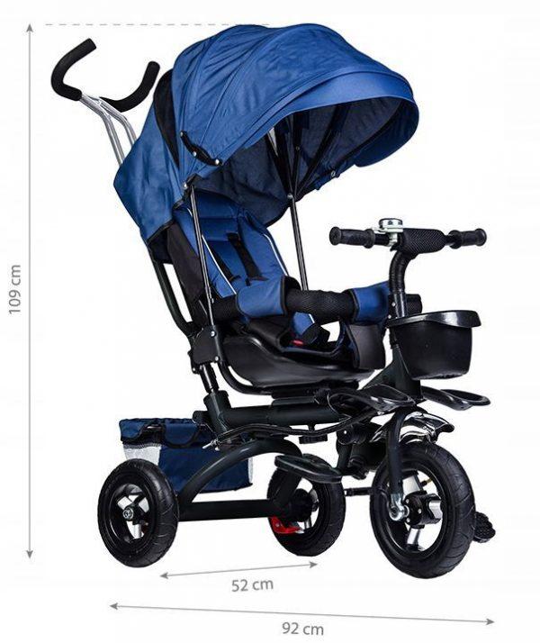 rowerek, trójkołowy, dla dziecka, rower, niebieski, koła, daszek, obrotowy, wymiary