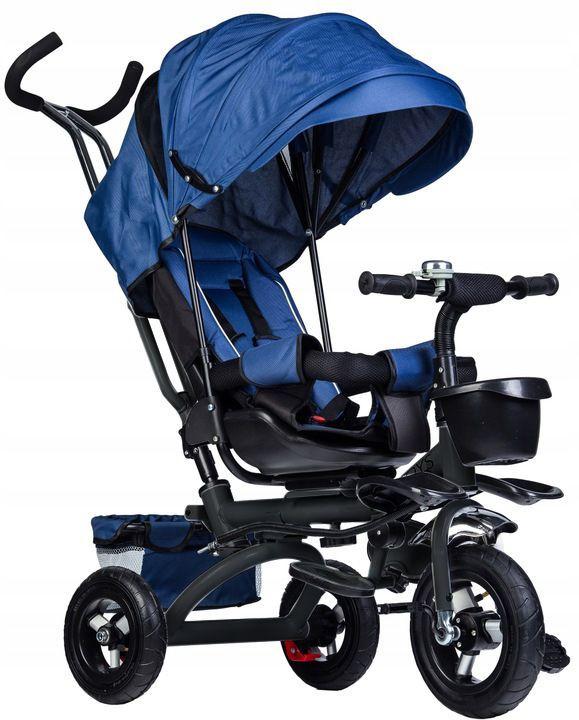 rowerek, trójkołowy, dla dziecka, rower, niebieski, koła, daszek,