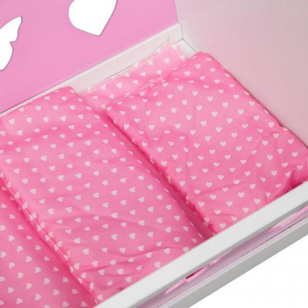 łóżeczko, drewniane, kołyska, biało- różowa, 2w1