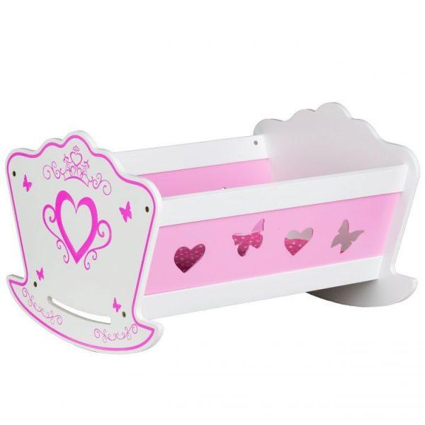 łóżeczko, drewniane, kołyska, biało- różowa