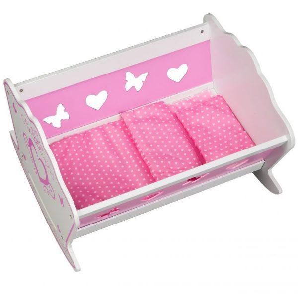 łóżeczko, drewniane, kołyska, biało- różowa, pościel