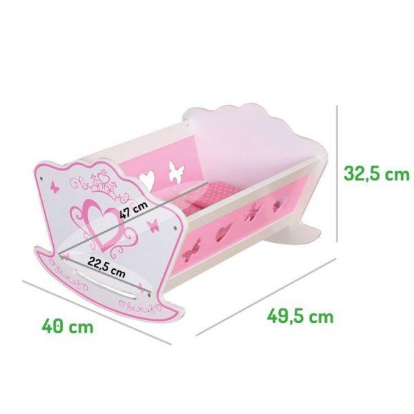 łóżeczko, drewniane, kołyska, biało- różowa, pościel, wymiary