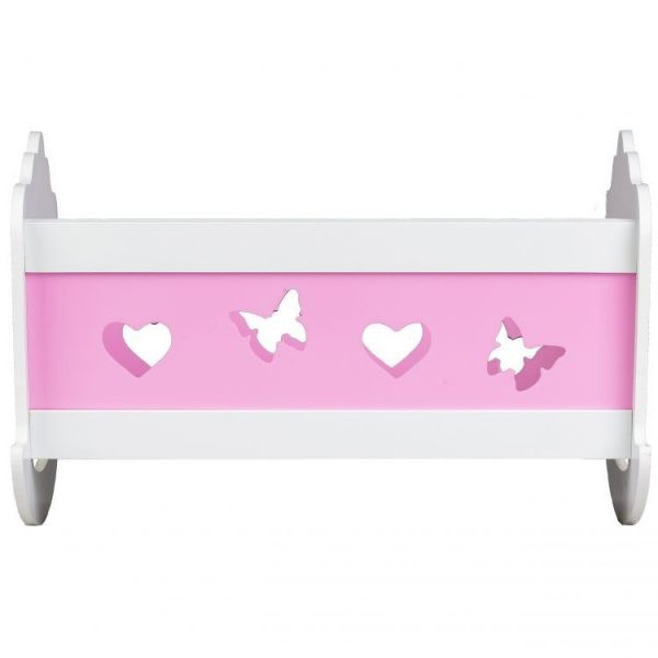 łóżeczko, drewniane, kołyska, biało- różowa, wzorki
