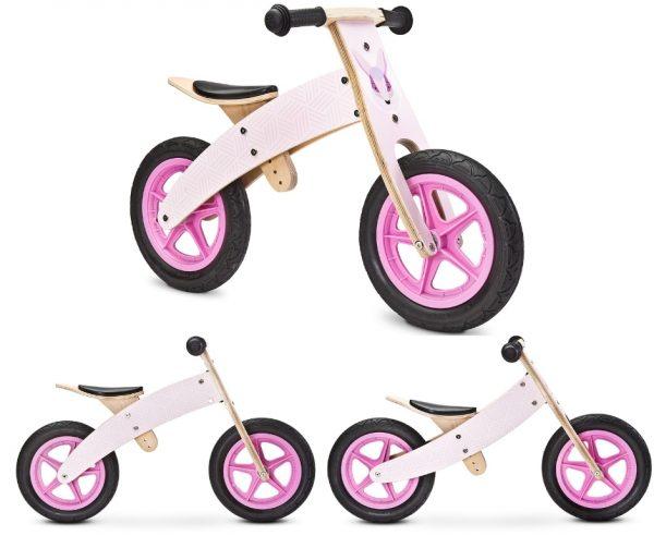drewniany, rowerek, rower, biegowy, różowy, woody, pink,