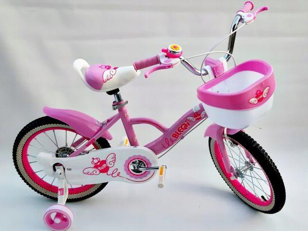rower, rowerek, 16 cali, dla dziewczynki, z koszyczkiem, nowy, foletowy,