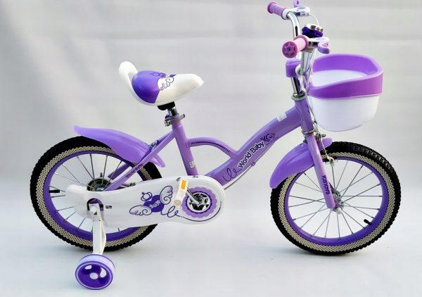 rower, rowerek, 16 cali, dla dziewczynki, z koszyczkiem, nowy, foletowy, różowy