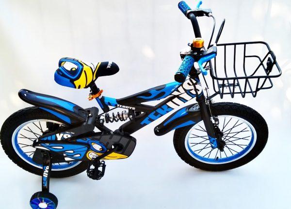 rower, rowerek, dla chłopca, 16 cali, niebieski, 16, z koszyczkiem, amortyzowany, mami kids