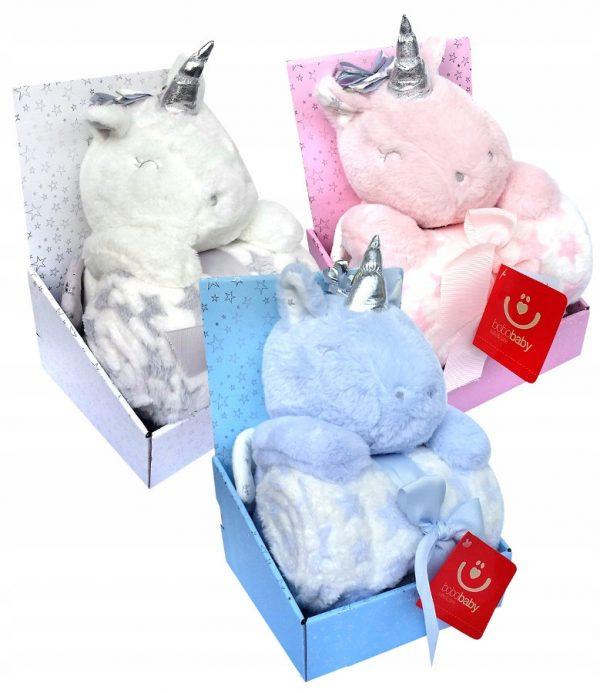 jednorożec, pegaz, kocyk, zestaw upominkowy, narodziny, prezent