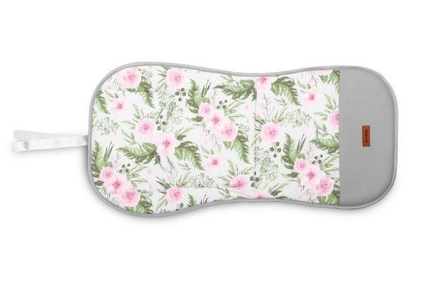 Sensillo-Kolorowa-Wkladka-Velvet-do-wozka-GRANATOWY-kwiaty, nowa