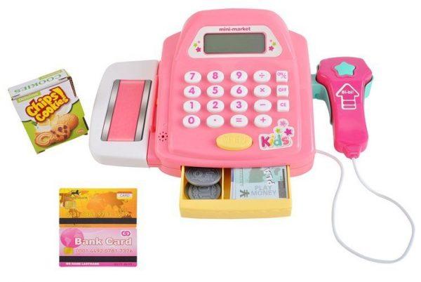 kasa, fiskalna, dla dziecka, różowa, czytnik