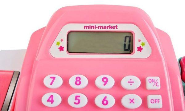 kasa, fiskalna, dla dziecka, różowa, czytnik, akcesoria