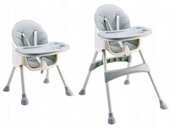 różowe, krzesełko, do karmienia, 2w1, dwupoziomowe, szary, grey