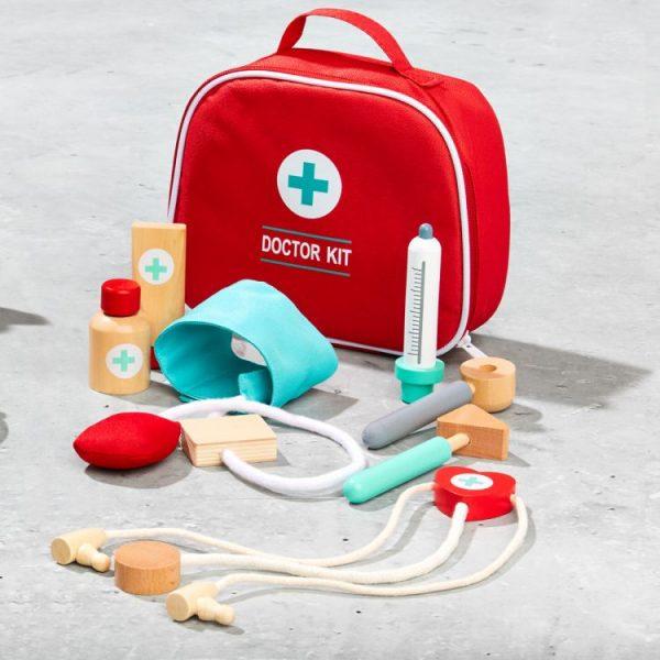 zestaw, medyczny, drewniany, lekarz,